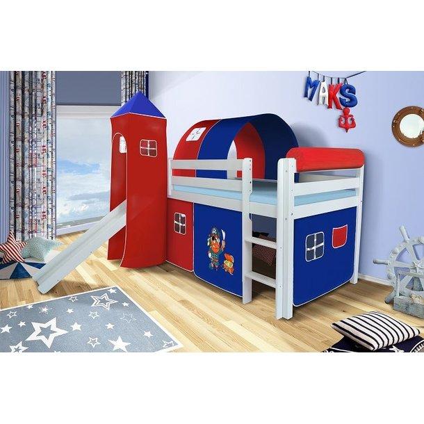 Dětská VYVÝŠENÁ postel se skluzavkou PIRÁTI modročervení - BÍLÁ