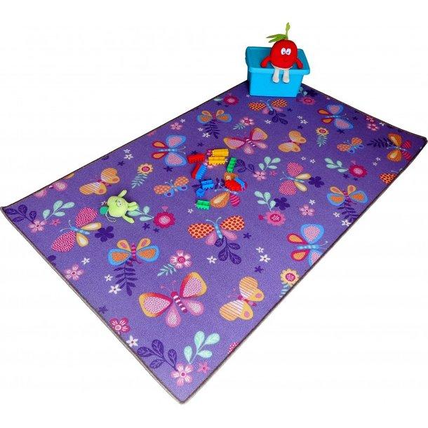 Dětský koberec MOTÝLÍ LOUKA - fialový