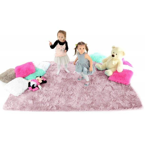 Dětský plyšový koberec STARORŮŽOVÝ