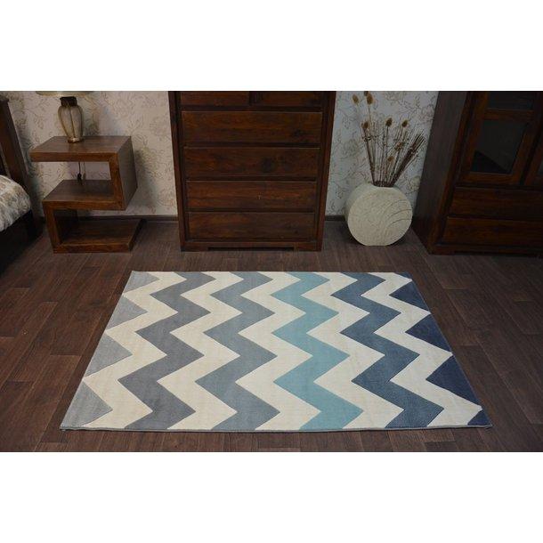 Moderní koberec SCANDI CIK-CAK černý bílý modrý tyrkysový