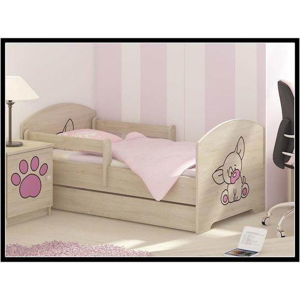 SKLADEM: Dětská postel s výřezem PEJSEK - růžová 140x70 cm + matrace ZDARMA!