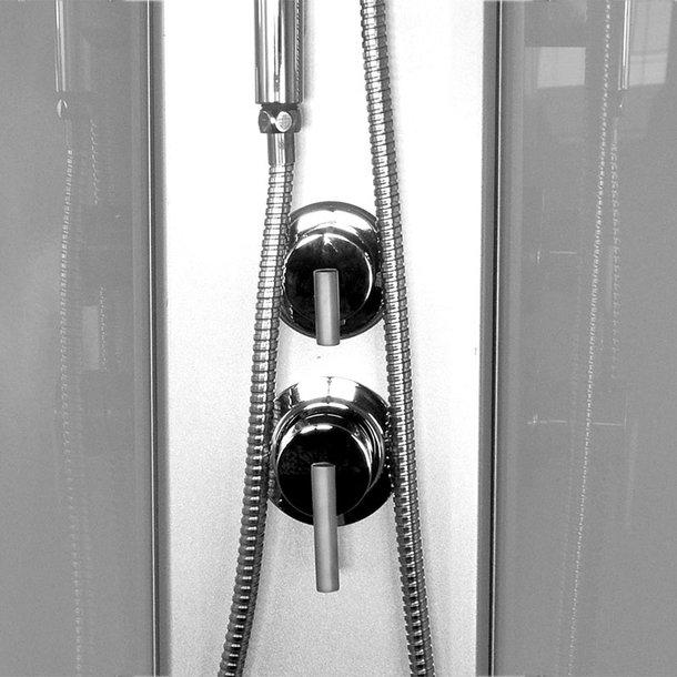 Sprchový box, čtvrtkruh, 90 cm, R550, profily satin, sklo Point, se stříškou, litá vanička