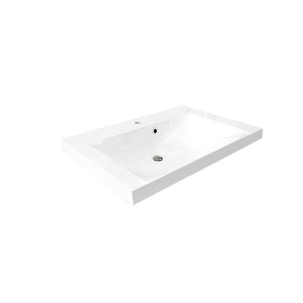 Nábytkové  umyvadlo, 81x46x18 cm, litý mramor, bílé