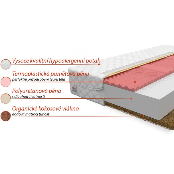 Pěnová matrace STANDARD+ COCO 200x160x13 cm - paměťová pěna/kokos
