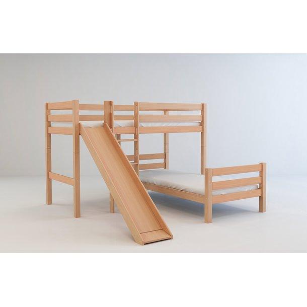 """Dětská patrová postel do """"L"""" se skluzavkou z MASIVU BUK - EMIL 200x90cm - přírodní"""