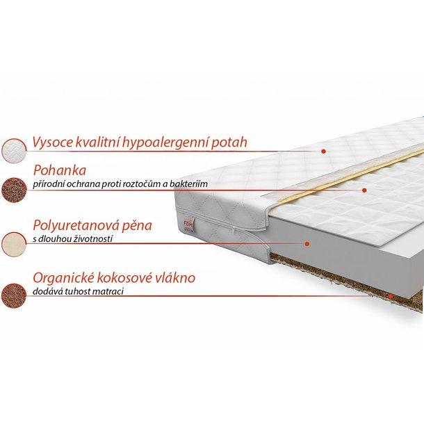 Dětská matrace COMFORT 140x70x9 cm - kokos/pohanka