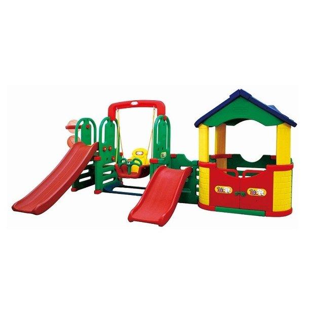 Dětské hřiště MAX 4XL - 2x skluzavka - houpačka - domek - basketbalový koš