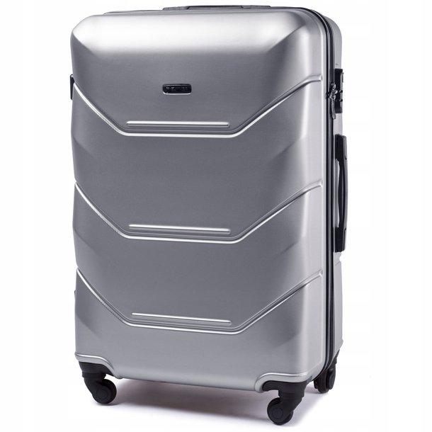 Moderní cestovní kufry PAVO - stříbrné