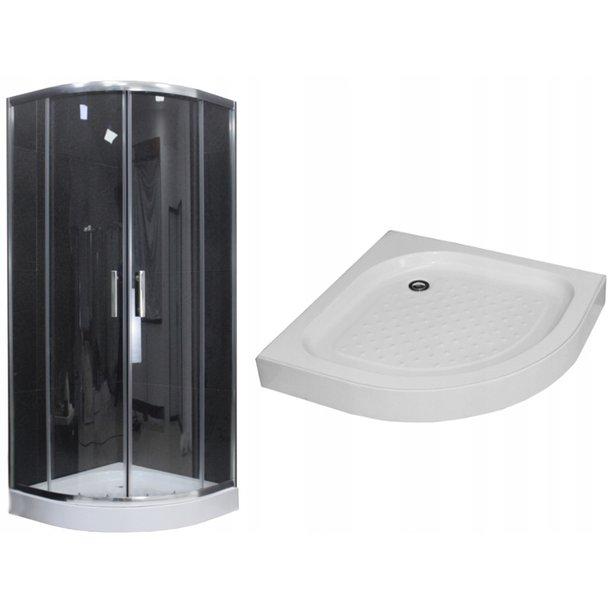 Sprchový kout s vaničkou MAXMAX MEXEN RIO transparent - čtvrtkruh 80x80 cm