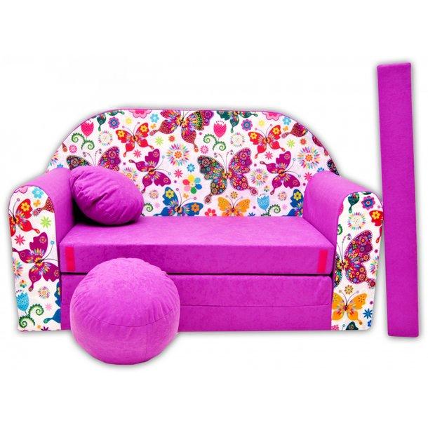 Dětská pohovka MOTÝLCI - fialová