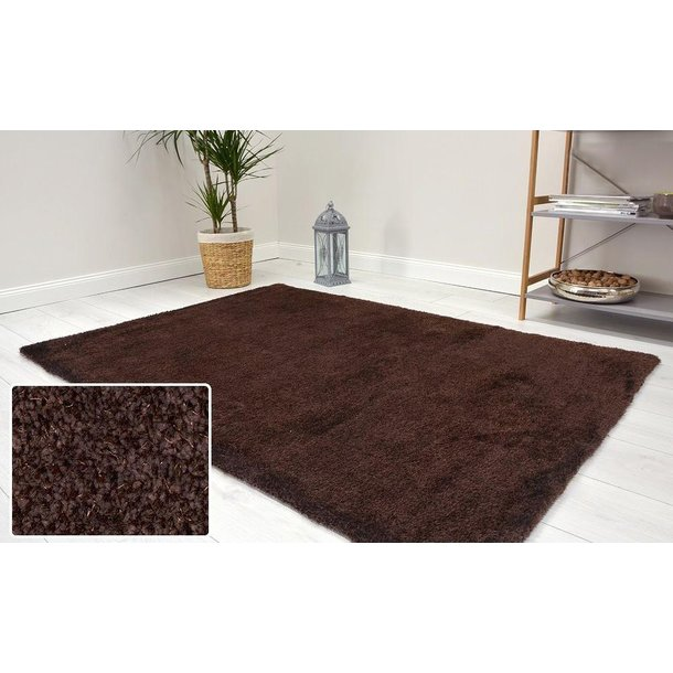 Kusový koberec Shaggy MAX velvet - tmavě hnědý
