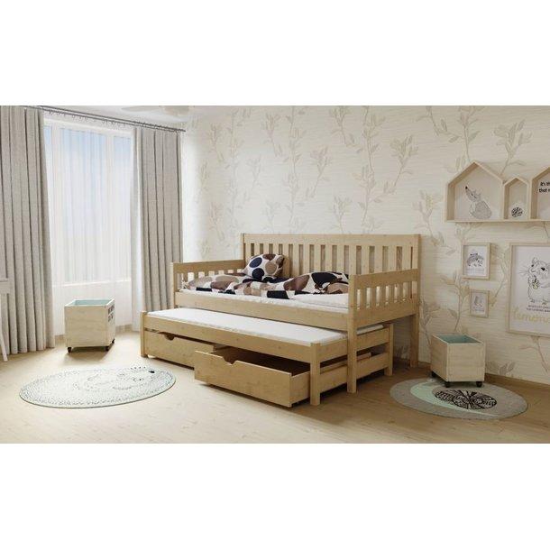 SKLADEM: Dětská postel s výsuvnou přistýlkou z MASIVU 200x80cm SE ŠUPLÍKY - M06