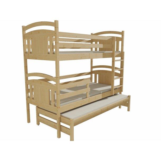 Dětská patrová postel s přistýlkou z MASIVU 180x80cm SE ŠUPLÍKY - PPV006