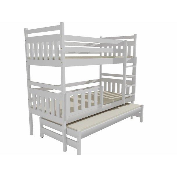 Dětská patrová postel s přistýlkou z MASIVU 180x80cm bez šuplíku - PPV004