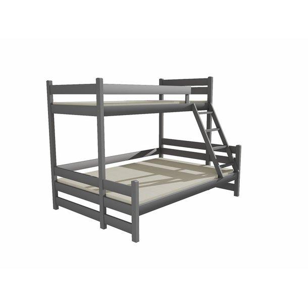 Dětská patrová postel s rozšířeným spodním lůžkem z MASIVU 200x90cm bez šuplíku - PPS004