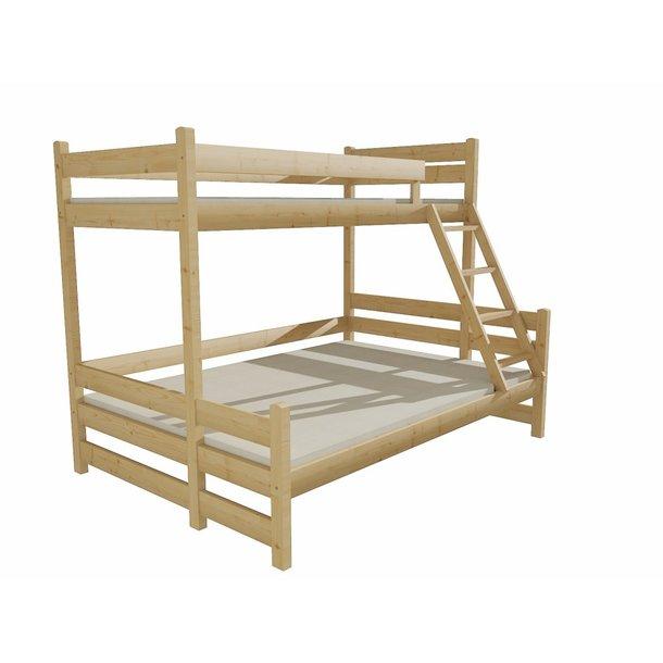 Dětská patrová postel s rozšířeným spodním lůžkem z MASIVU 200x90cm SE ŠUPLÍKY - PPS004