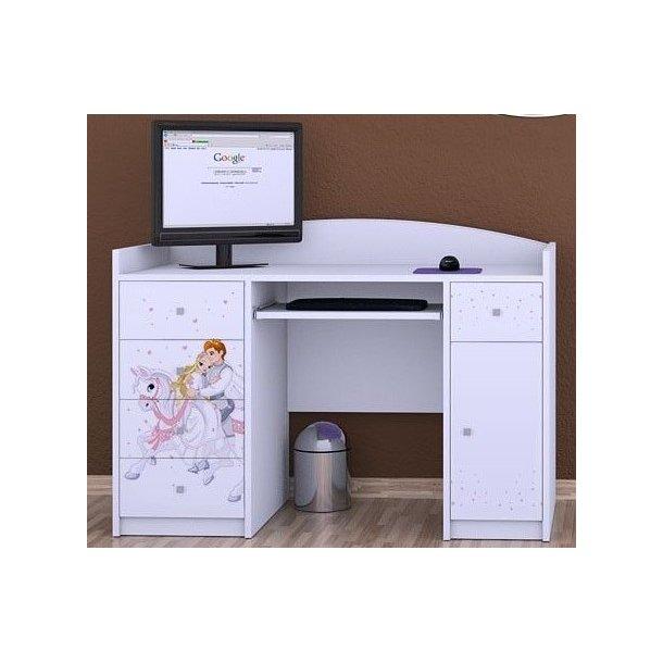 SKLADEM: Dětský psací stůl PRINC NA BÍLÉM KONI - TYP 1 - BÍLÁ