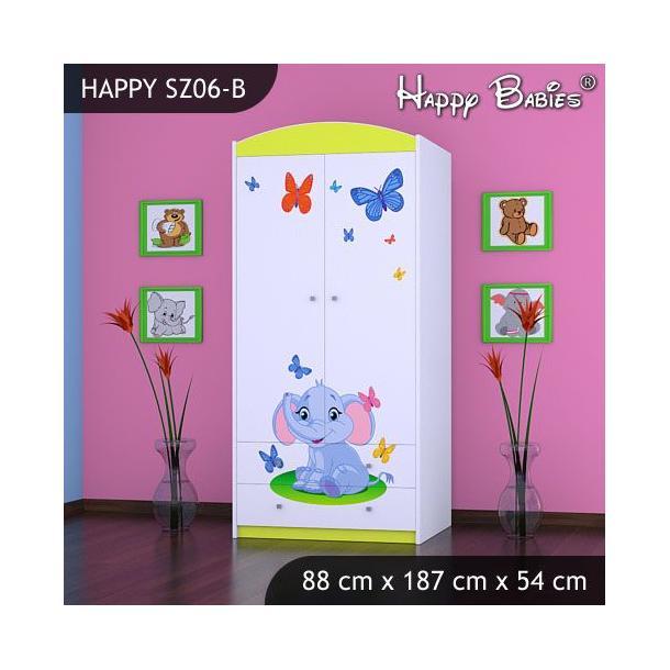 Dětská skříň - TYP 6B - zelená