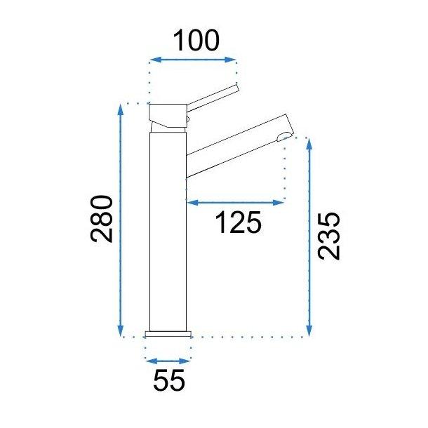 Umyvadlová baterie LUMI šedá - vysoká