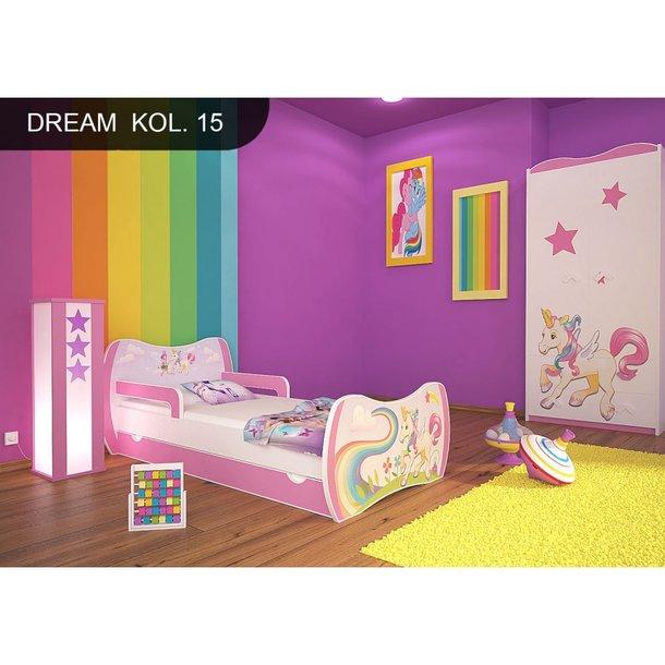 SKLADEM: Dětská postel se šuplíkem 180x90cm JEDNOROŽEC A DUHA + matrace ZDARMA!