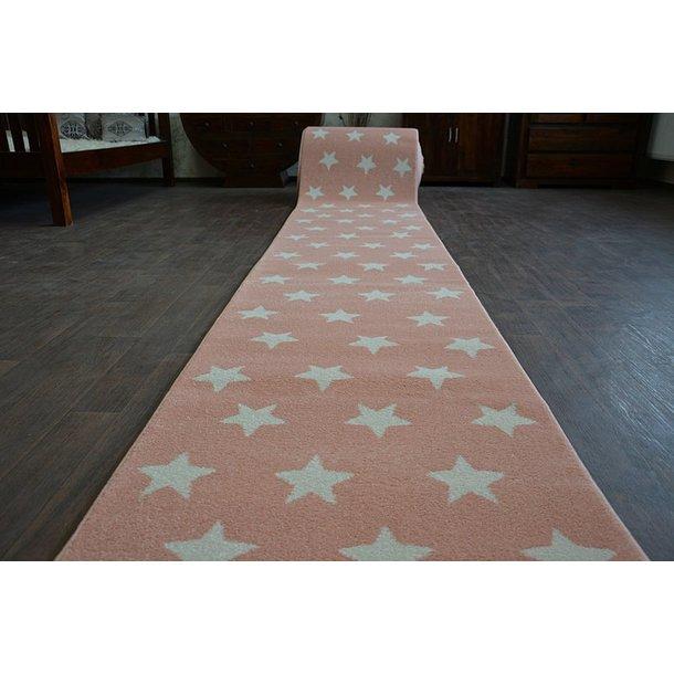 Moderní běhoun HVĚZDY - růžový 80x220 cm