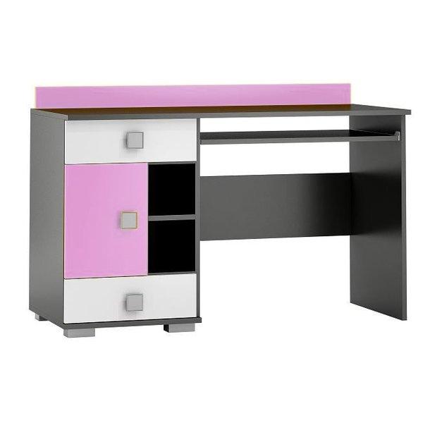 SKLADEM: Psací stůl YELLOW - TYP A - růžový s grafitovým korpusem (levé provedení)