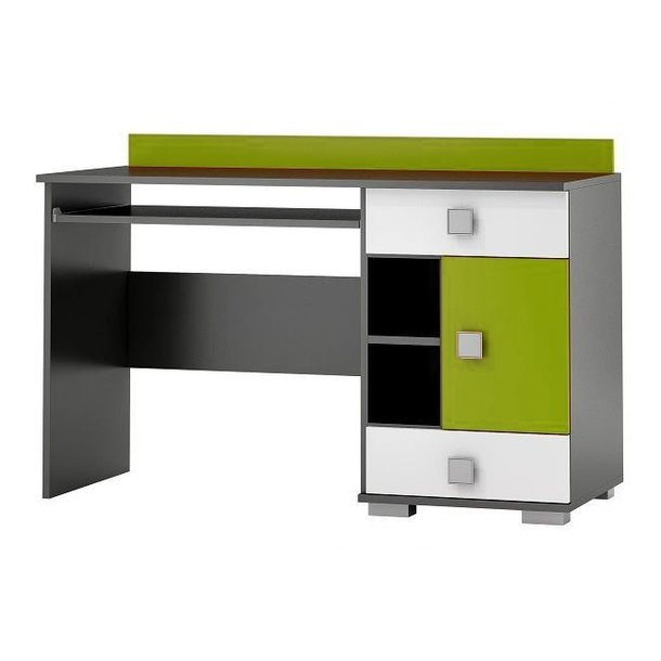 SKLADEM: Psací stůl YELLOW - TYP A - zelený s grafitovým korpusem (pravé provedení)