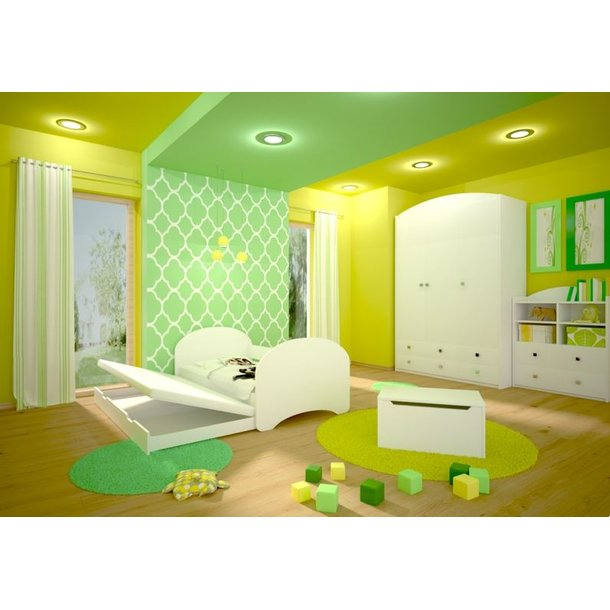 SKLADEM: Dětská postel pro DVA (s výsuvným lůžkem) 180x90 cm - MEDVÍDEK SE SRDÍČKEM - bílá
