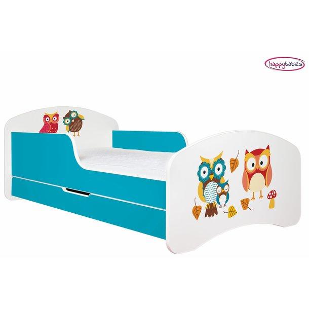 SKLADEM: Dětská postel se šuplíkem 140x70cm SOVÍ RODINKA bílo/modrá + matrace ZDARMA!