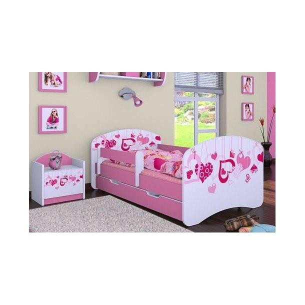 SKLADEM: Dětská postel se šuplíkem 160x80cm FALL IN LOVE - bílo/růžová