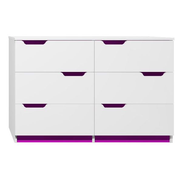 SKLADEM: Komoda - MODERN TYP D - tmavě fialová/bílá