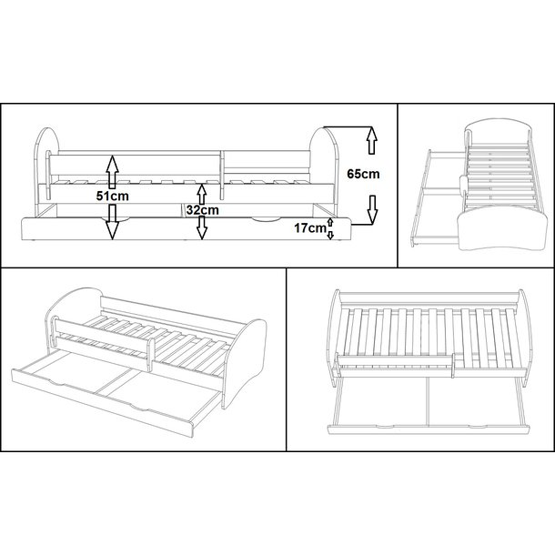 SKLADEM: Dětská postel se šuplíkem SPACE TYP B 140x70 cm + matrace kokos/pohanka