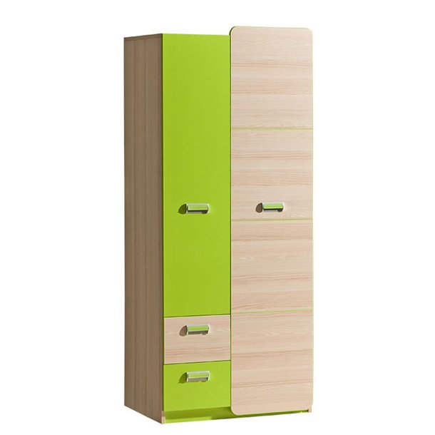 SKLADEM: Šatní skříň LORENTO - TYP A  - zelená/jasan