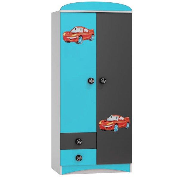 SKLADEM: Šatní skříň SUPERCAR - TYP D  - tyrkysová/grafitová/bílá
