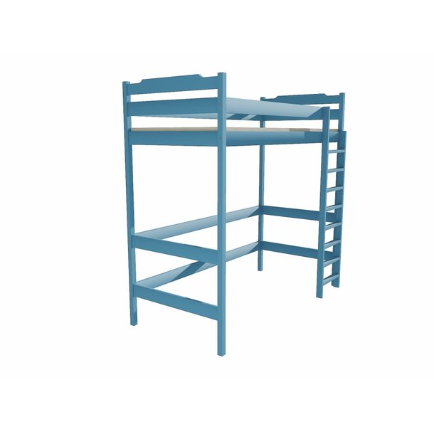 SKLADEM: Vyvýšená dětská postel z MASIVU 200x90cm - ZP004 - modrá