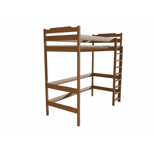 SKLADEM: Vyvýšená dětská postel z MASIVU 180x80cm - ZP004 - moření dub