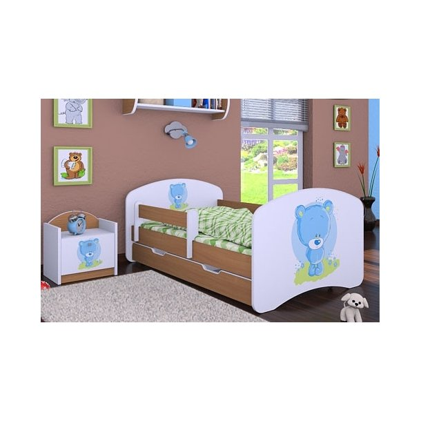 SKLADEM: Dětská postel se šuplíkem 160x80cm MODRÝ MEDVÍDEK - buk