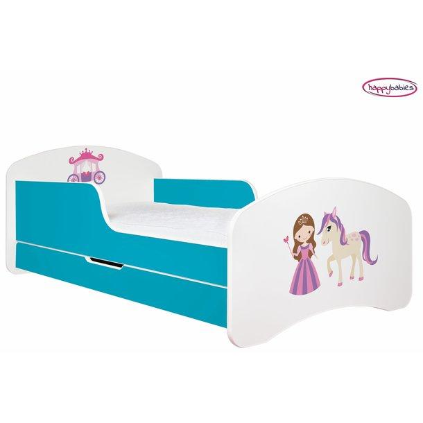 SKLADEM: Dětská postel se šuplíkem 190x90cm PRINCEZNA A KONÍK - růžovo/bílá + matrace ZDARMA!