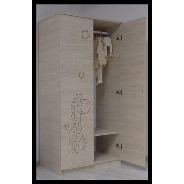 SKLADEM: Dětská šatní skříň s výřezem MÉĎA - dub sonoma/růžová
