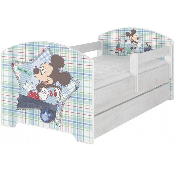 SKLADEM: Dětská postel Disney - MICKEY MOUSE se šuplíkem 160x80 cm