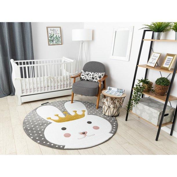 Kulatý koberec PetMe Král králík - šedý