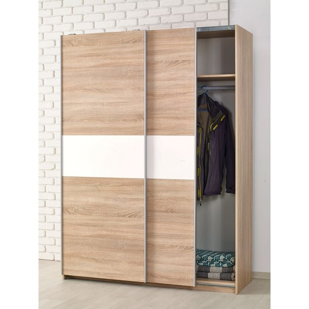 Šatní skříň LINA 1 s posuvnými dveřmi - bílá