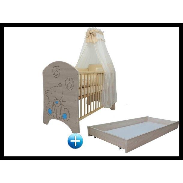 SKLADEM: Dětská postýlka s výřezem KOČIČKA - modrá 120x60 cm + matrace kokos/molitan