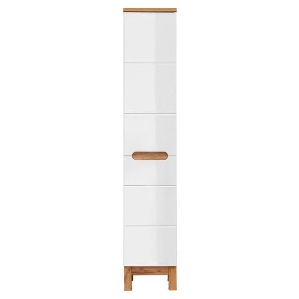 Koupelnová stojící skříňka BALI bílá - vysoká s košem na prádlo