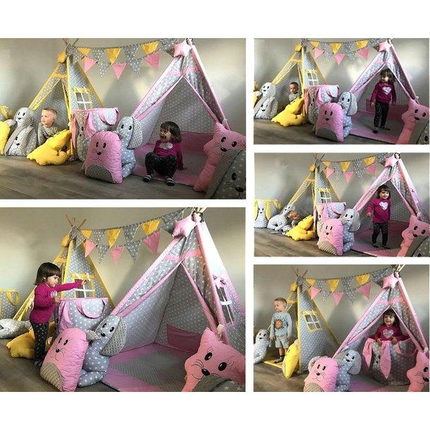 Dětský stan TEEPEE (TÝPÍ) EXCLUSIVE s doplňky - ŽLUTOŠEDÝ