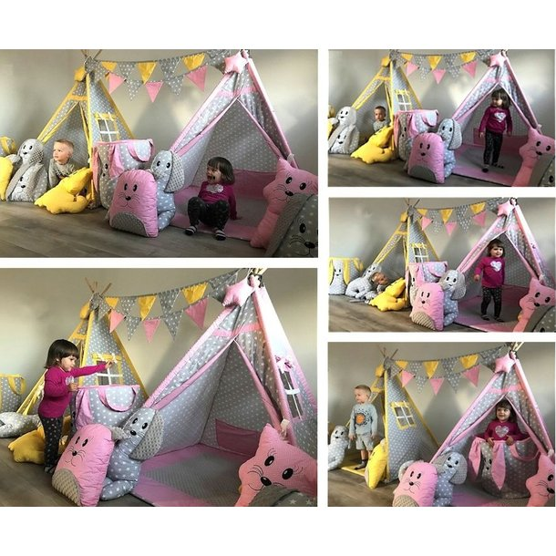 Dětský stan TEEPEE (TÝPÍ) EXCLUSIVE s doplňky - TMAVĚRŮŽOVÝ