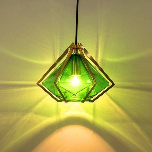 Stropní svítidlo EMERALD DIAMOND - kov/sklo - zlaté/zelené