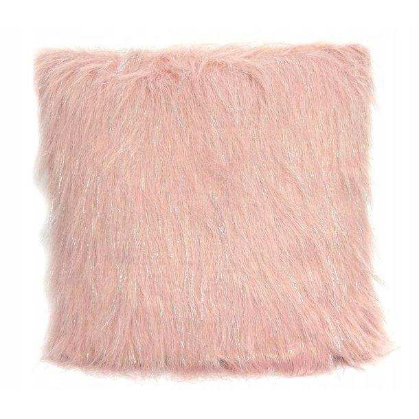 Polštář LUX 45x45 cm s dlouhým vlasem - růžový
