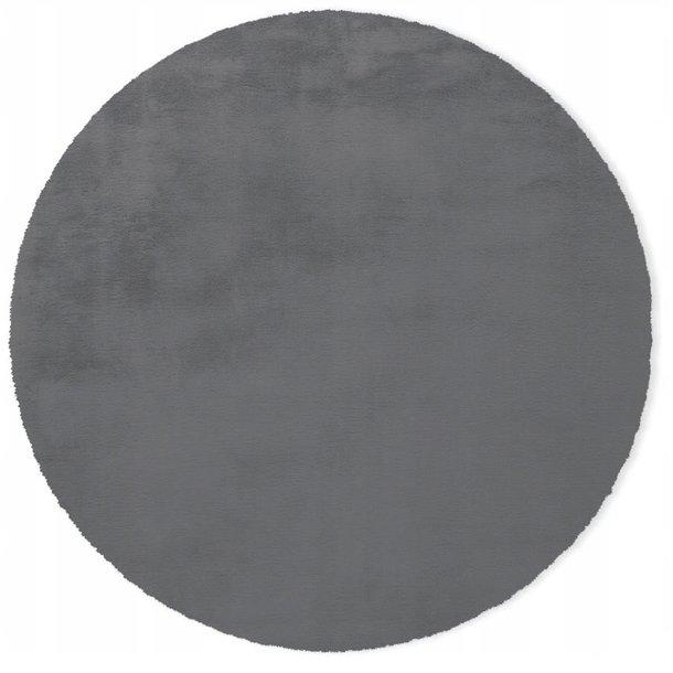 Kulatý koberec RABBIT - 100 cm - tmavě šedý - imitace králičí kožešiny