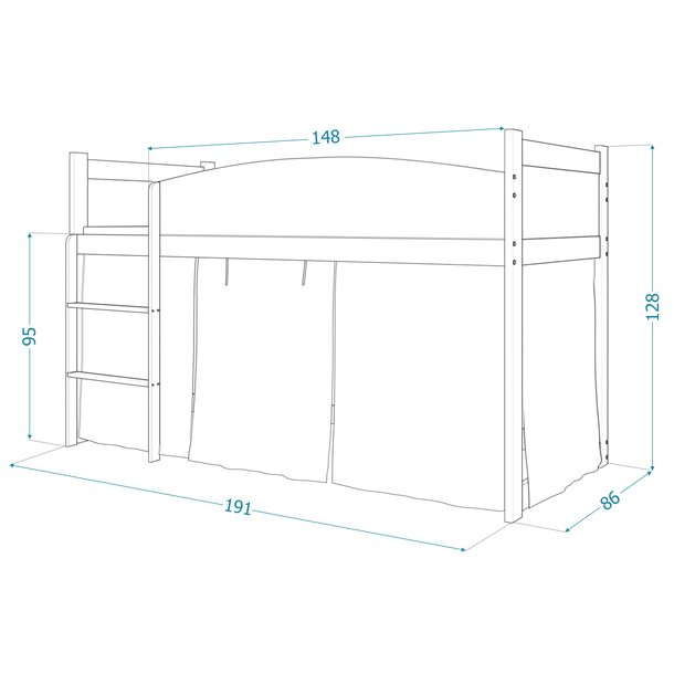 Vyvýšená dětská postel TWISTER 184x80 cm - Fotbalista